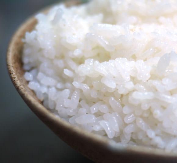 茶碗の米のアップ