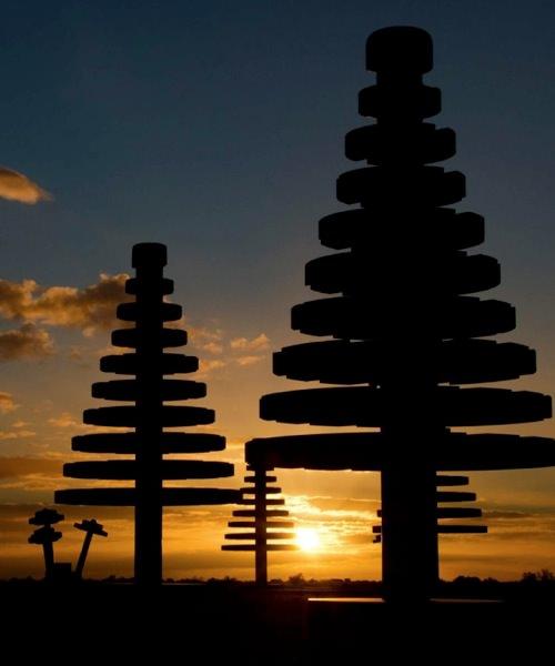 巨大レゴ植物 夕焼け2
