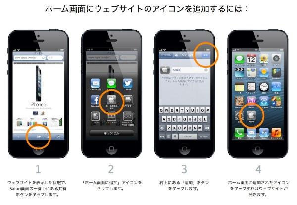 iphone ホーム画面に登録する方法