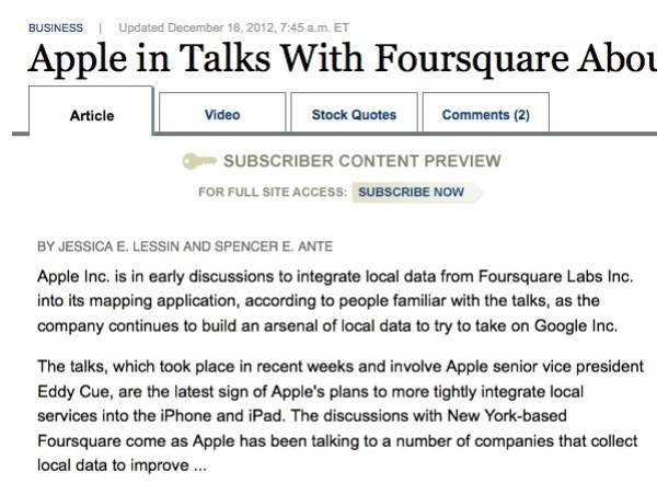 apple map foursquare
