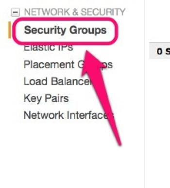Amazon EC2 「Security Groups」メニュー