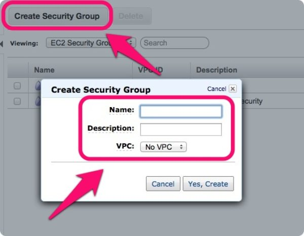 「Security Groups」の名前を設定