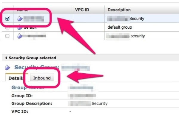 「Security Groups」Inboundタブを選択