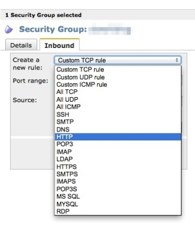 「Security Groups」のHTTPを選択