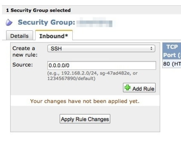 「Security Groups」のSSHを設定