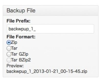 BackWPup 圧縮形式設定