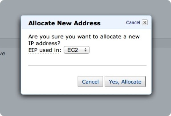 EC2 「Elastic IP」取得「Yes, Allocate」