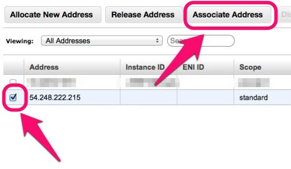 「Elastic IP」紐付け「Associate Address」