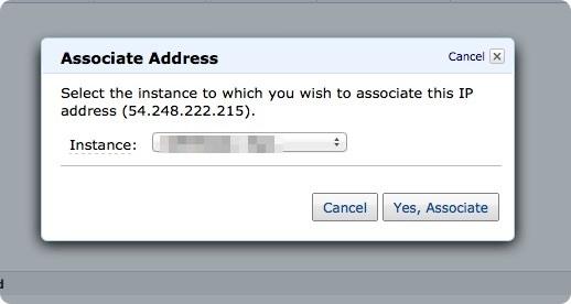 Elastic IP」紐付け「Yes, Associate」