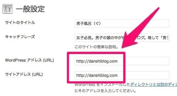 WordPress 一般設定のURL