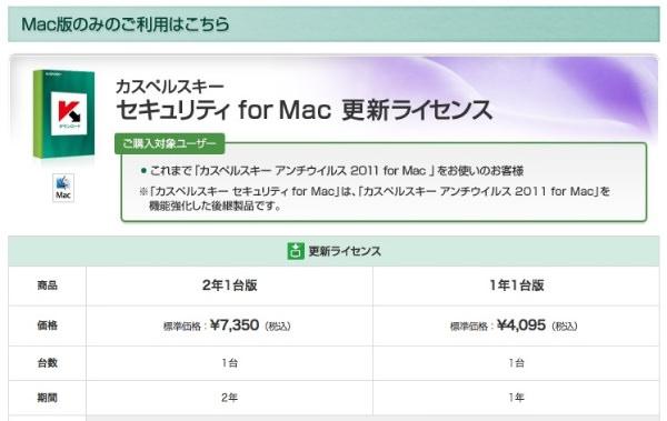 カスペルスキー セキュリティ for Mac 更新料金