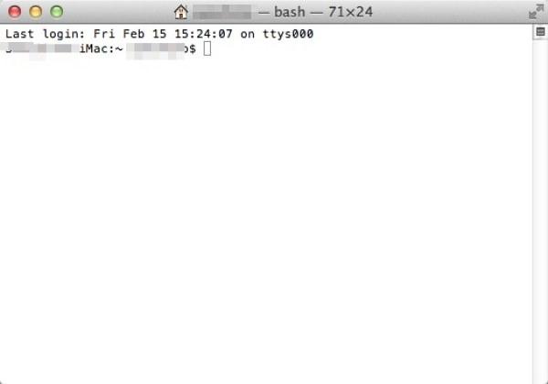 Macintosh ターミナル起動画面