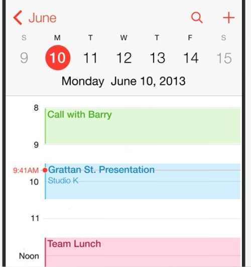 Apple iOS Design calender