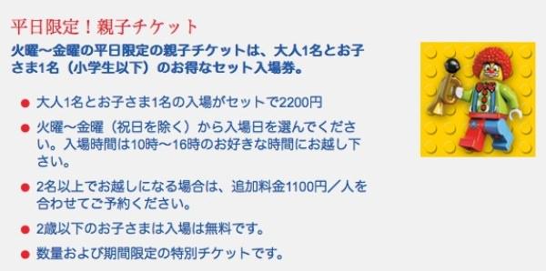 レゴランド・ディスカバリー・センター東京 親子チケット