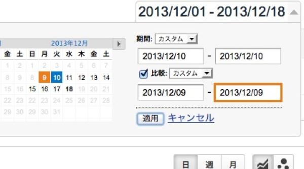 Googleアナリティクス 前日と当日の日付を設定